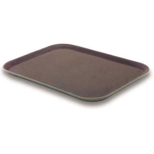1418PT-BROWN : Rectanguler Tray Non-Slip 35.5 x 46cm Brown