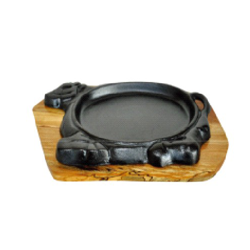 Cast Iron Sizzler Dish with Woodea Tray and Lifting Handle, Oil Finish DIA=28*16cm