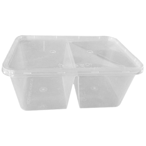 UL-1000D : Rectangular Container with 2 compartments 171 x 122 x 71 450, 450ml  transparan